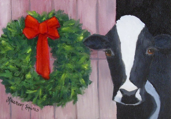 Moo-y Christmas; 5x7 oil on canvas